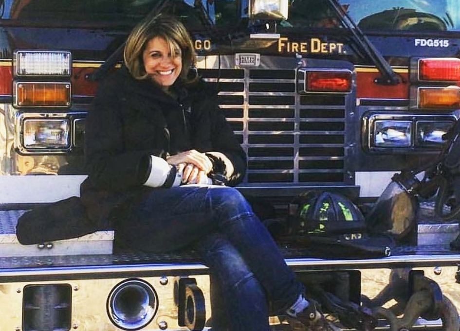 "Elizabeth Morris on the set of ""Chicago Fire"""