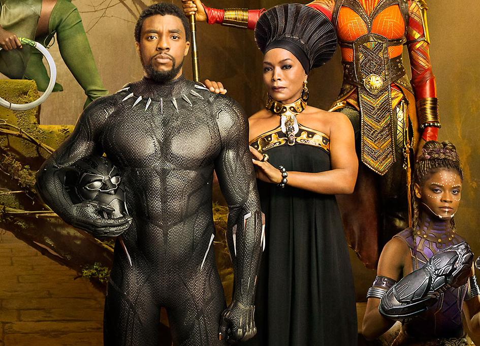 "Chadwick Boseman and Angela Bassett in the ""Black Panther Royal Family Portrait"""